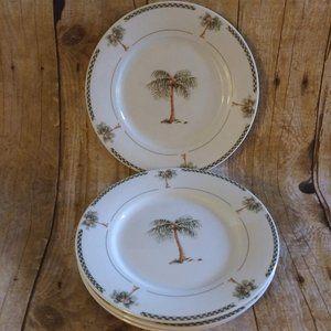 4 Gibson Bahama Palm Tree  Salad/ Desert Plates